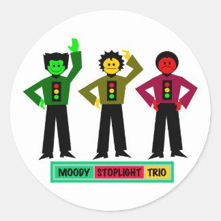 Caracteres cambiantes del trío de la luz de parada etiquetas redondas