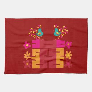 Caracteres chinos de la felicidad doble toalla de cocina