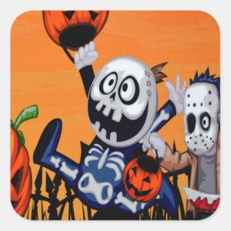 caracteres cómicos de Halloween Calcomanias Cuadradas