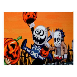 caracteres cómicos de Halloween Postal