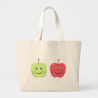 Caracteres de la manzana del dibujo animado bolsa lienzo