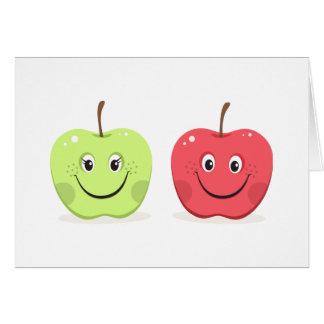 Caracteres de la manzana del dibujo animado felicitaciones