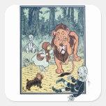 Caracteres de mago de Oz del vintage, camino Pegatina Cuadrada