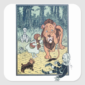 Caracteres de mago de Oz del vintage, camino Colcomanias Cuadradass