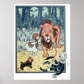 Caracteres de mago de Oz del vintage, camino Póster