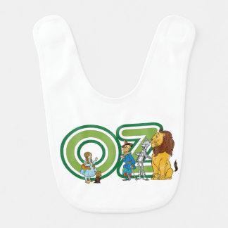Caracteres de mago de Oz del vintage y letras del Babero De Bebé