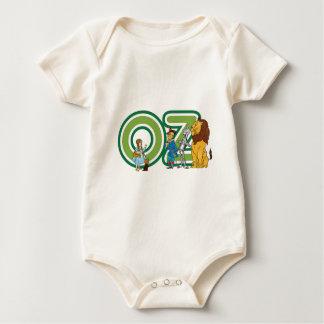 Caracteres de mago de Oz del vintage y letras del Mameluco De Bebé