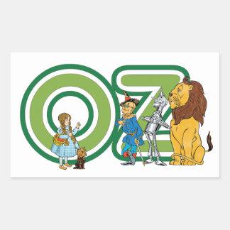 Caracteres de mago de Oz del vintage y letras del Pegatina Rectangular