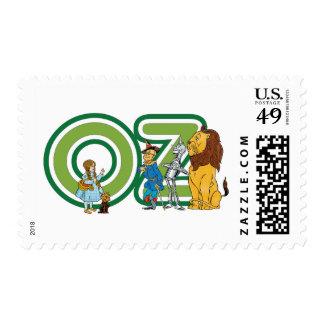 Caracteres de mago de Oz del vintage y letras del Timbres Postales