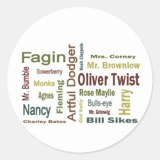 Caracteres de Oliver Twist Etiqueta Redonda