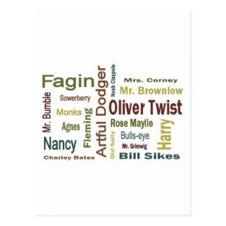 Caracteres de Oliver Twist Tarjeta Postal
