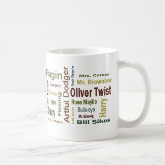 Caracteres de Oliver Twist Taza Básica Blanca