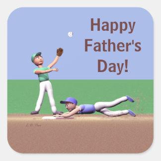 Caracteres del béisbol del día de padres pegatina cuadrada