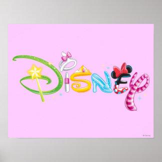 Caracteres del chica del logotipo el | de Disney Póster