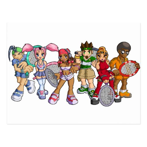 Caracteres del tenis del animado tarjetas postales