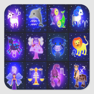 Caracteres lindos del zodiaco pegatina cuadrada