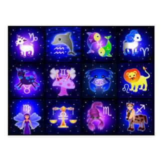 Caracteres lindos del zodiaco postal