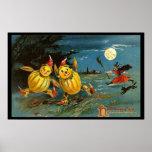 Caracteres y bruja de la calabaza de Halloween Poster