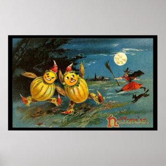 Caracteres y bruja de la calabaza de Halloween Póster
