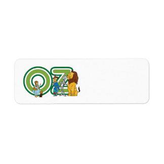 Caracteres y letras de mago de Oz del vintage Etiquetas De Remite