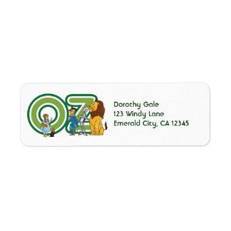 Caracteres y letras de mago de Oz del vintage Etiqueta De Remite