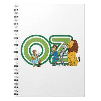 Caracteres y letras de mago de Oz del vintage Libretas