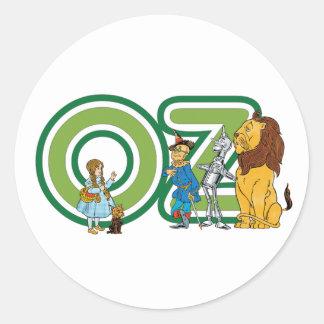 Caracteres y letras de mago de Oz del vintage Pegatinas Redondas