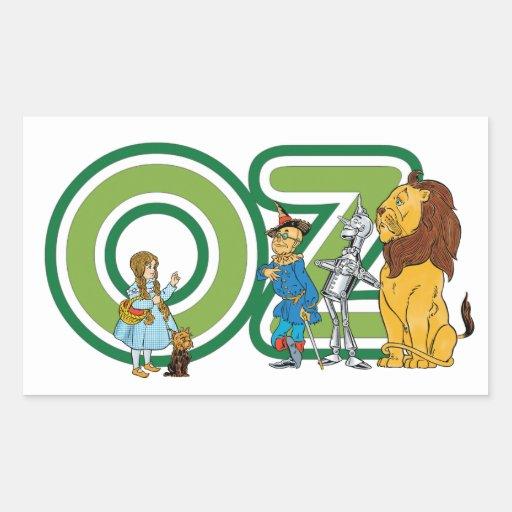 Caracteres y letras de mago de Oz del vintage Rectangular Pegatinas