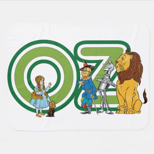 Caracteres y letras de mago de Oz del vintage Mantitas Para Bebé