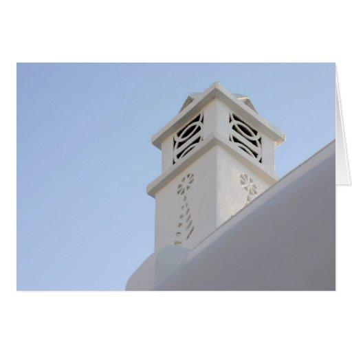 Característica arquitectónica en Mykonos, Grecia Tarjeta
