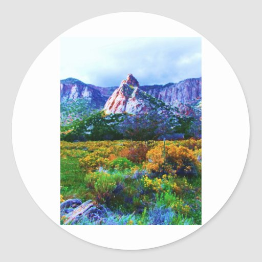Característica de la roca del granito en el valle pegatina redonda