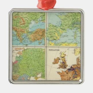 Características de Europa y mapa físicos de la Adorno Navideño Cuadrado De Metal