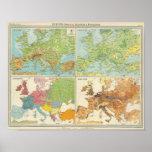 Características de Europa y mapa físicos de la pob Posters