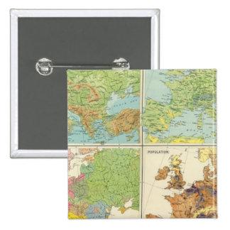 Características de Europa y mapa físicos de la pob Pin Cuadrado