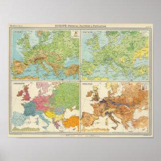 Características de Europa y mapa físicos de la pob Póster