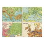 Características de Europa y mapa físicos de la pob Tarjeta Postal