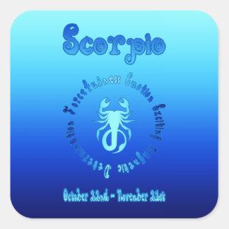 Características del escorpión (muestra del agua pegatina cuadrada