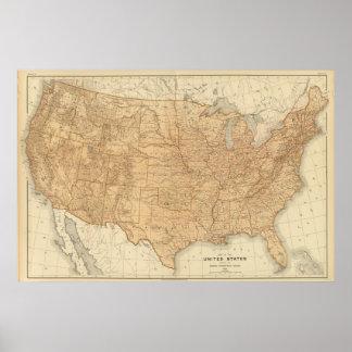 Características topográficas de Estados Unidos Poster