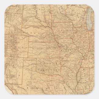 Características topográficas de Estados Unidos Calcomanías Cuadradass Personalizadas