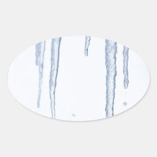 Carámbanos de fusión del hielo pegatina ovalada