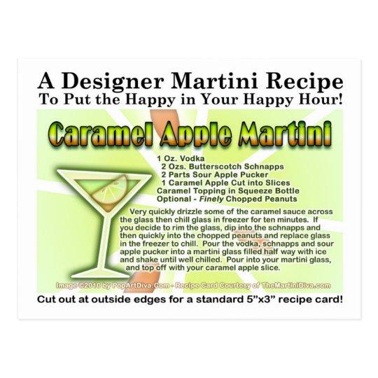 Caramel Apple Candy Martini Recipe Card Postcard