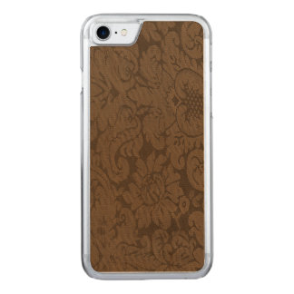 Caramel Brown Damask Weave Look Carved iPhone 7 Case