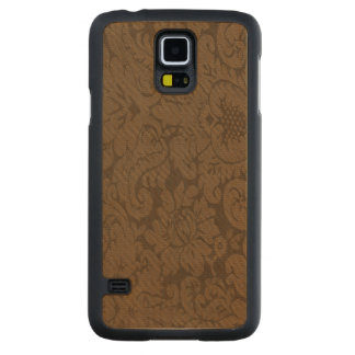 Caramel Brown Damask Weave Look Carved® Maple Galaxy S5 Case