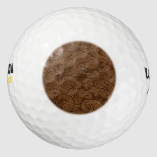 Caramel Brown Damask Weave Look Pack Of Golf Balls