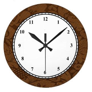 Caramel Brown Damask Weave Look Large Clock