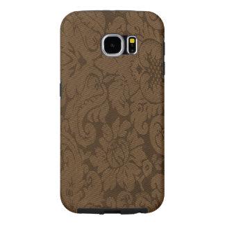 Caramel Brown Damask Weave Look Samsung Galaxy S6 Case