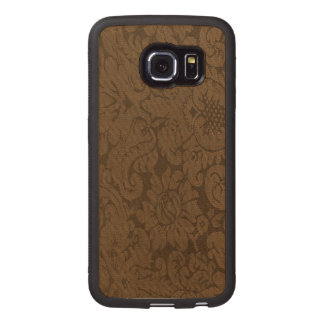 Caramel Brown Damask Weave Look Wood Phone Case