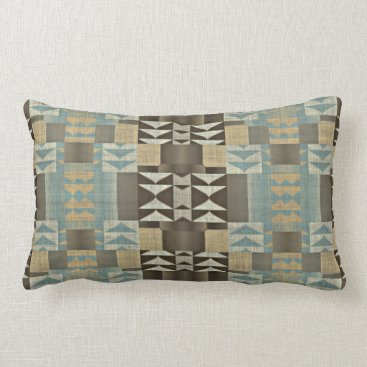 Aztec Themed Caramel Brown Seafoam Green Eclectic Ethnic Look Lumbar Pillow