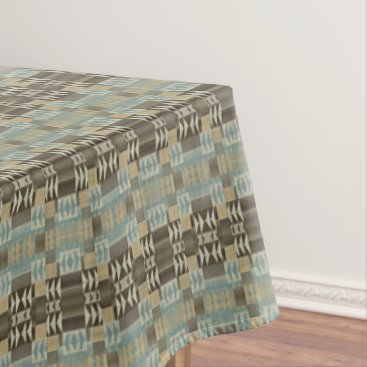Aztec Themed Caramel Brown Seafoam Green Eclectic Ethnic Look Tablecloth