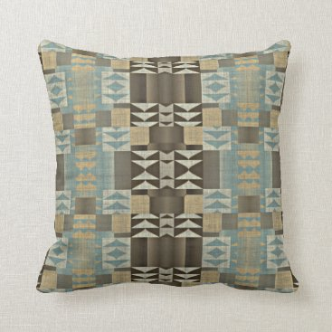 Aztec Themed Caramel Brown Seafoam Green Eclectic Ethnic Look Throw Pillow